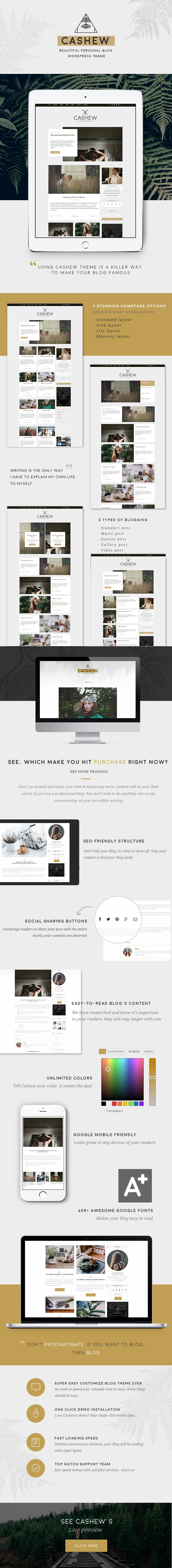 Cashew - A Personal Blog WordPress Theme - 1